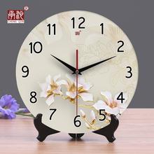 承沁陶瓷钟表创意时钟客厅静音挂ya12座钟两am中式台钟摆件