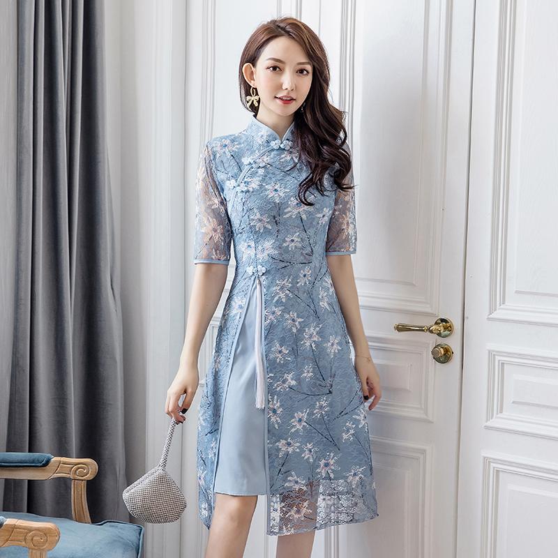 旗袍年轻款日常少女小清新2020春款中国风复古女装时尚改良连衣裙