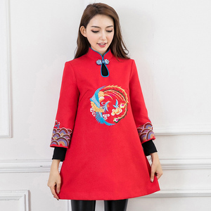 Winter women's 2019 new retro national style plus cotton thick Tang dress women's clothing Chinese style improved cheongsam dress
