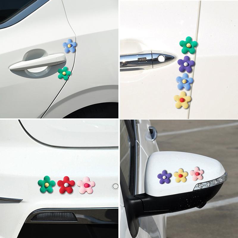 花朵车门防撞条卡通可爱汽门边防撞贴后视镜防刮车贴车身装饰贴