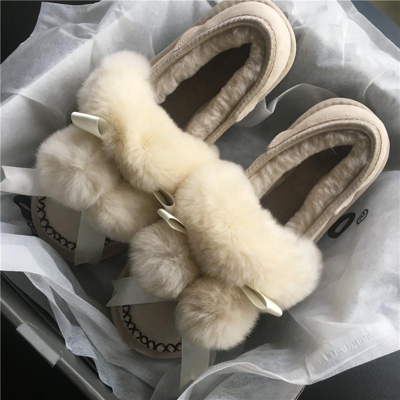 2020冬季毛球雪地靴女短筒蝴蝶结真皮羊毛加厚一脚蹬懒人豆豆棉鞋