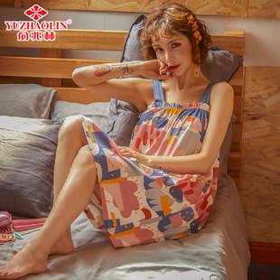 俞兆林吊带睡裙女夏季薄款纯棉睡衣女韩版可爱卡通全棉无袖连衣裙