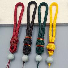 粗翡翠和田玉玉石文lt6手把件绳mi织挂绳弹弓手绳7mm线手工