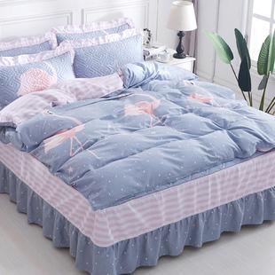 纯棉夹棉床裙式四件套床上用品100%全棉带床套被套床单被罩床罩款