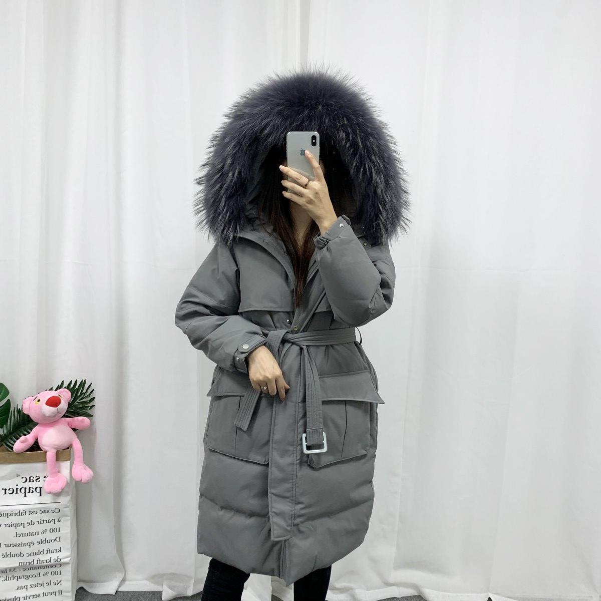 韩国羽绒服女2019冬新款爆款修身中长款过膝宽松加厚大毛领外套潮