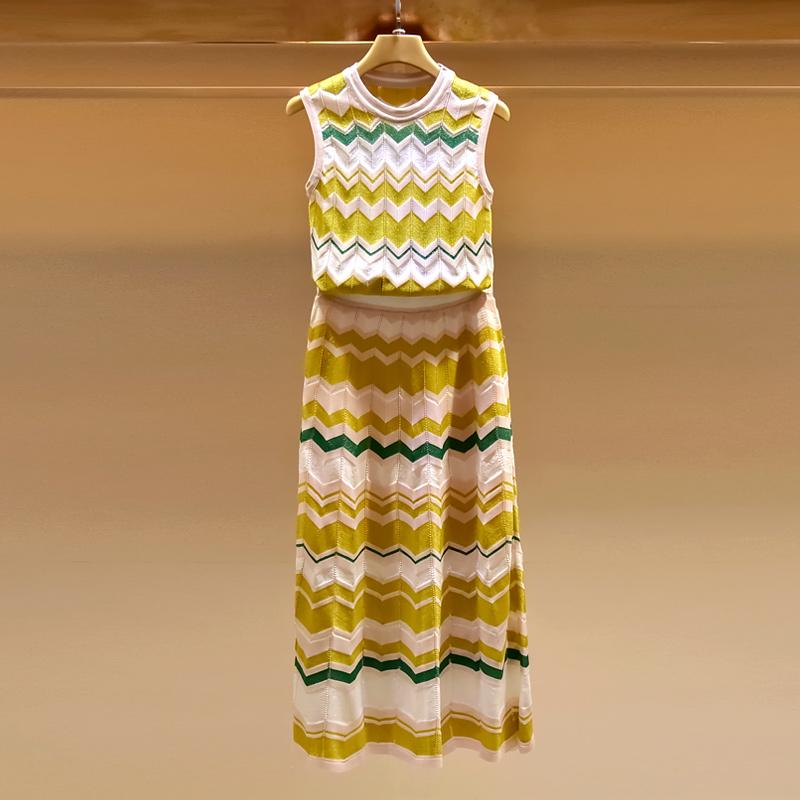 妃语2018夏季名媛无袖小香风套装女修身高腰中长款针织两件套裙