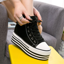 黑色帆布鞋女gn3帮202k8款内增高10cm(小)白鞋厚底松糕单鞋百搭