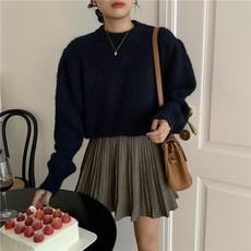 韩国chic法式小众春秋装减龄软糯纯色毛衣+千鸟格百褶A字短裙套装