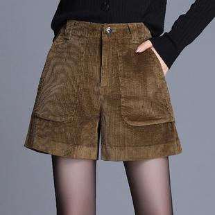 灯芯绒阔腿短裤女2020新款秋冬款外穿宽松高腰秋冬季条绒裤子显瘦