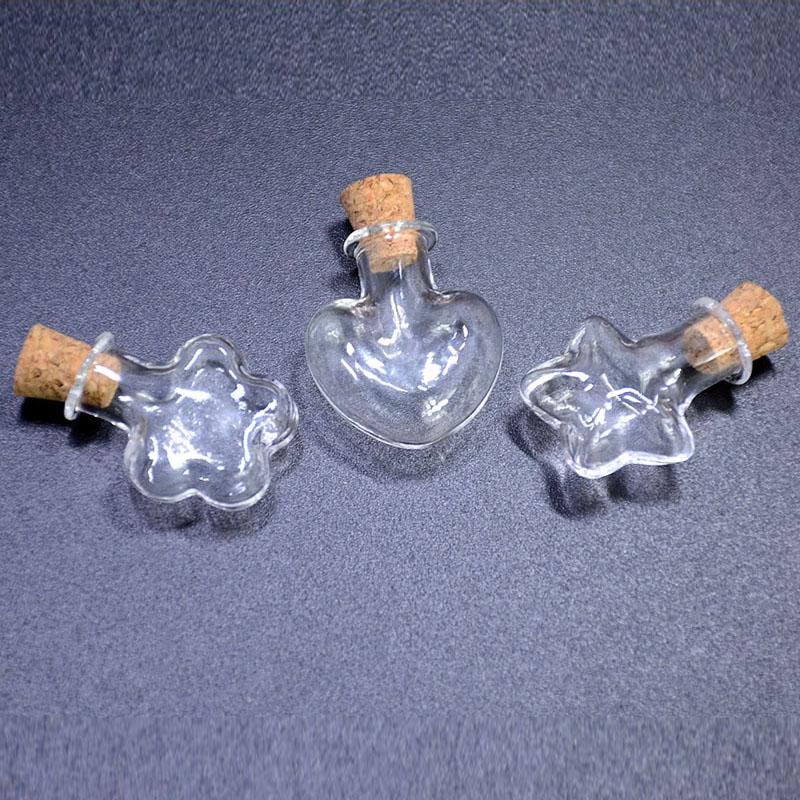 星星爱心木塞空玻璃球瓶罩 手工diy制作饰品配材料包干花项链吊坠
