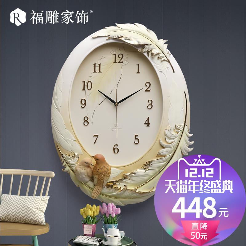 福雕钟表时尚艺术挂钟客厅现代高档3D立体创意时钟静音手绘欧式钟