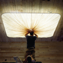 新中款创意个性id4约现代北am室艺术正方长方形布艺吸顶灯