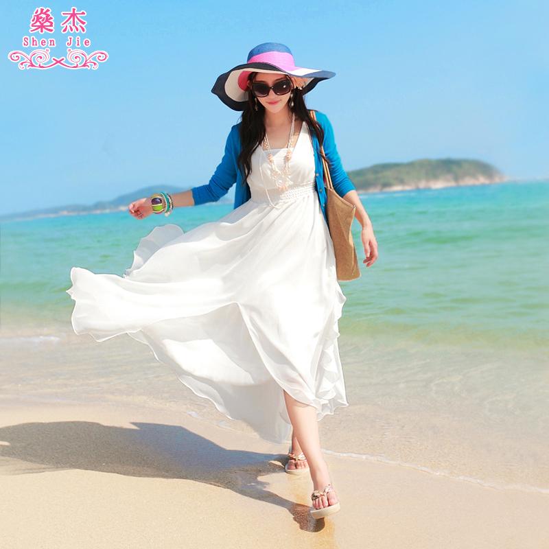 沙滩裙2020新款海边度假雪纺夏季泰国女装海滩波西米亚长裙连衣裙