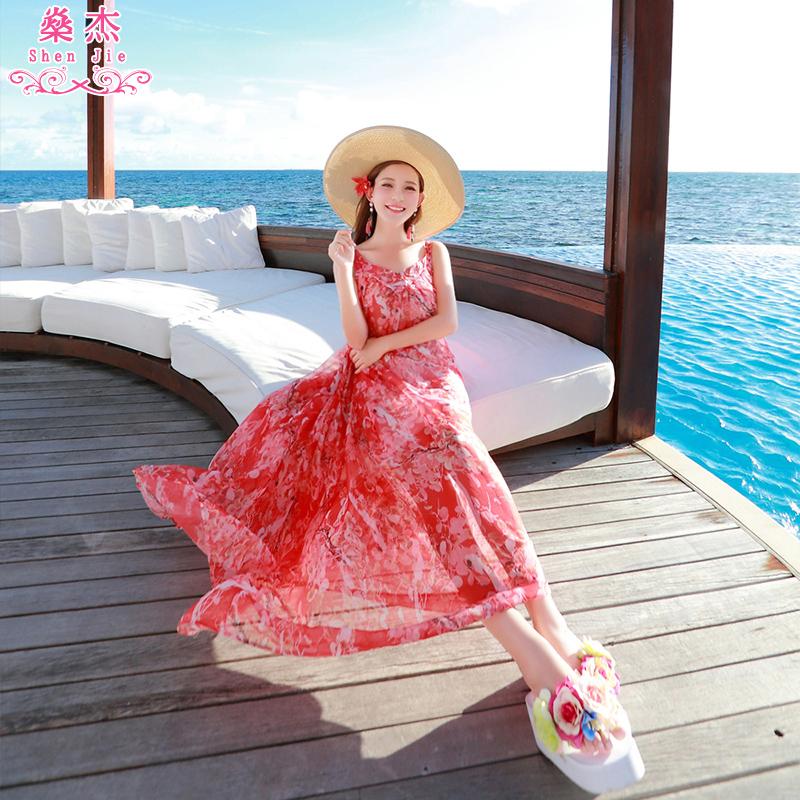 纺碎花显瘦海滩女夏裙子连衣裙
