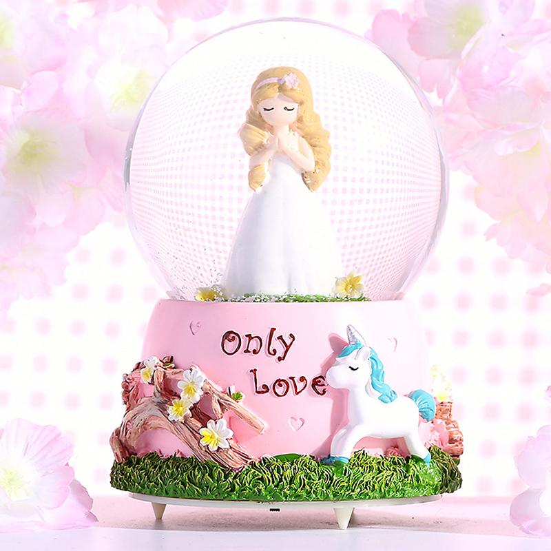 圣诞节水晶球儿童生日礼物礼品八音盒音乐盒小女孩独角兽摆件公主