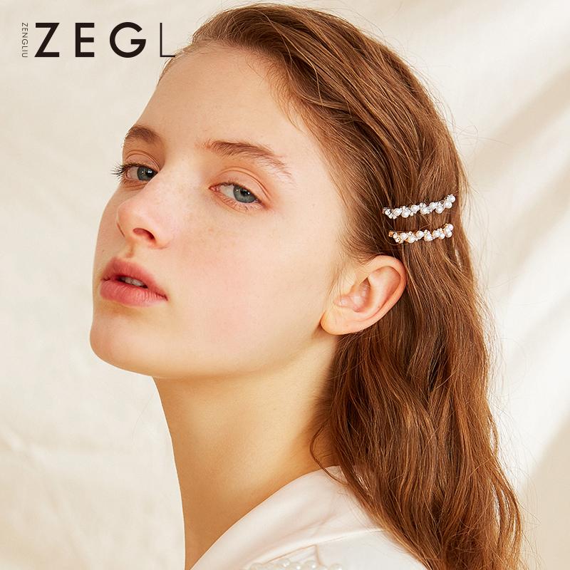 ZENGLIU网红一字夹仿珍珠发卡女仙气头饰森系仙美发夹边夹发饰品
