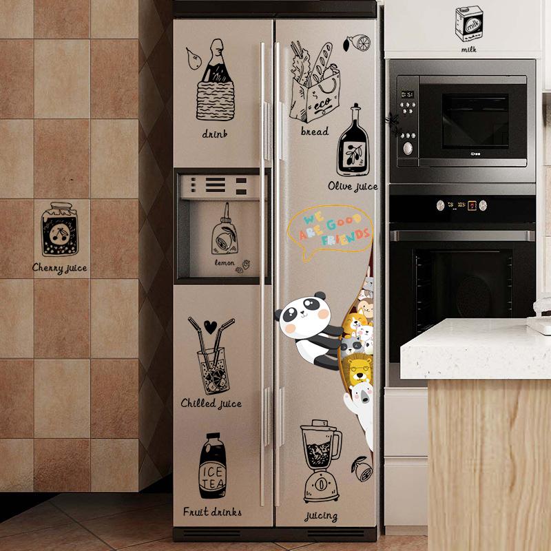 创意冰箱贴纸厨房装饰贴画挂式空调改造翻新贴可移除卡通餐厅橱柜