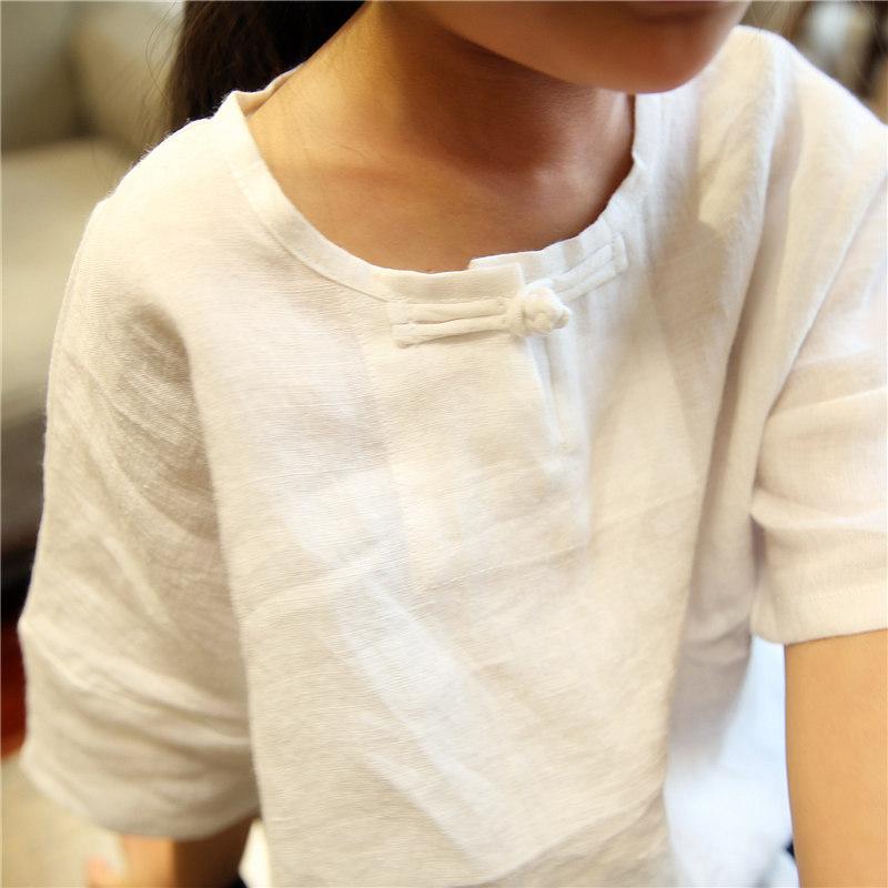 原创男女童T恤童装新品夏季纯色短袖文艺范盘扣 儿童棉麻上衣森系