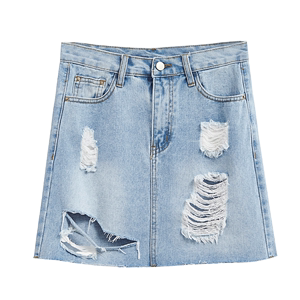 2017 summer New Korean version of the students pale blue big old hole high waist jean skirt child half skirt a word skir