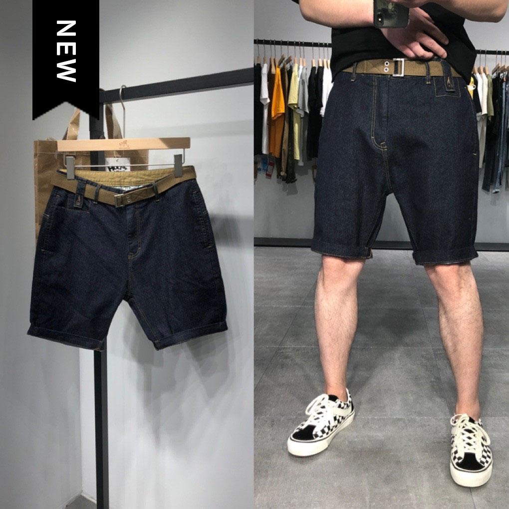 2020夏季新款纯色简约牛仔短裤男黑色五分裤青年休闲百搭裤子潮