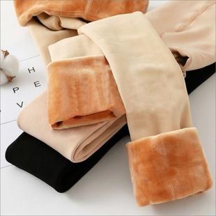 秋冬光腿打底裤女裸感加绒加厚外穿神器肉色薄款肤秋裤黑保暖连袜