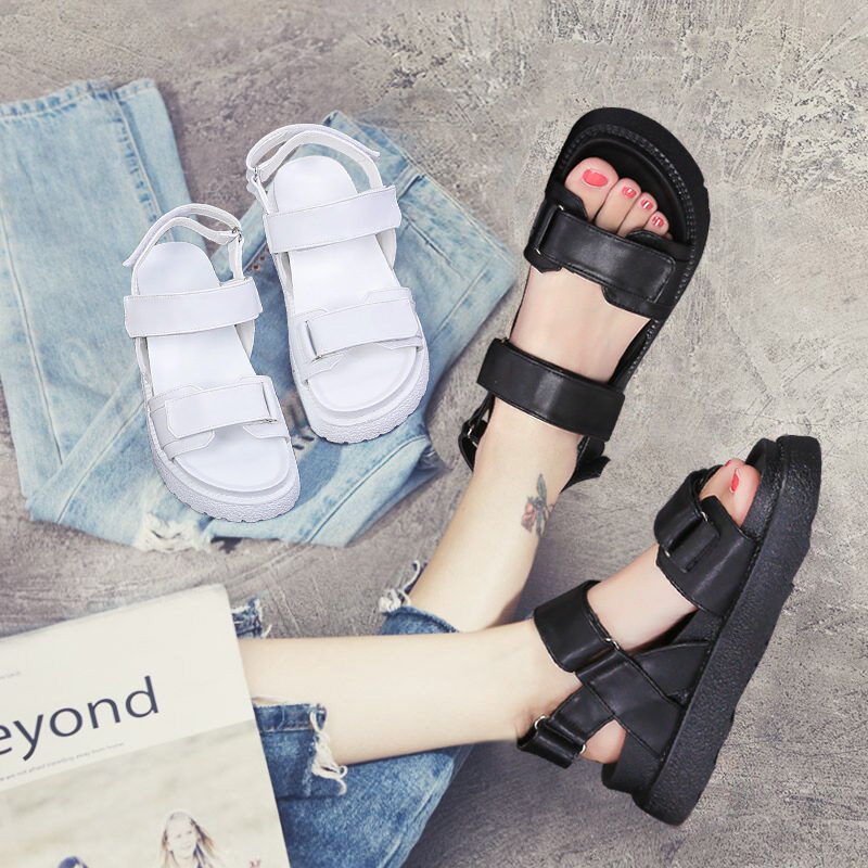 2017夏天新款凉鞋子女松糕底罗马运动白色平底一字带中跟时尚休闲
