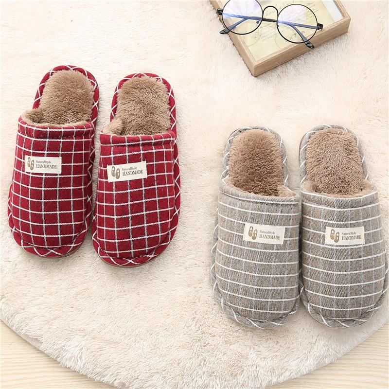 棉拖鞋女冬季春秋天情侣儿童家居家用室内毛毛绒可爱亚麻布拖鞋男
