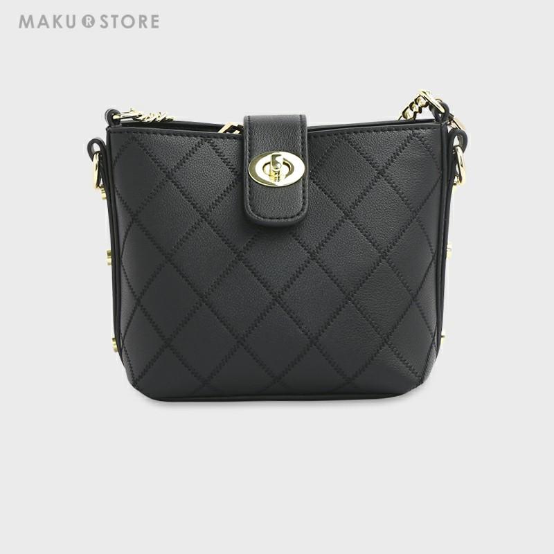 MAKU菱格链条包2019新款水桶包时尚单肩斜挎包夏季小包包