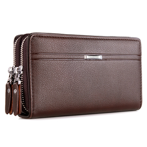 2019 new men's bag men's clutch bag leather first layer leather clutch bag double-layer double zipper large capacity wallet