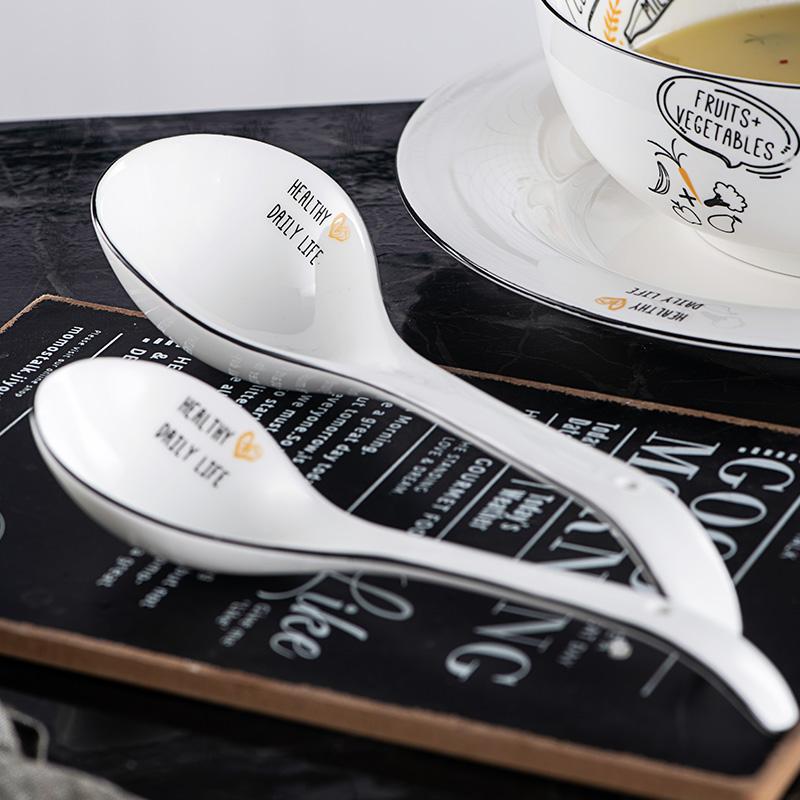汤勺家用勺子长柄陶瓷 小大号调羹蛋饺勺水勺 粥勺喝汤加厚稀饭勺