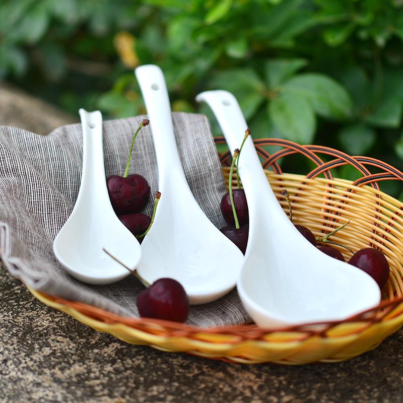 汤勺陶瓷家用大勺子大汤瓷勺木勺子汤匙大号长柄粥勺稀饭勺陶瓷勺