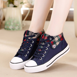 2020 spring new high-top canvas shoes women's shoes Korean wild women's casual shoes student plaid shoes tide shoes