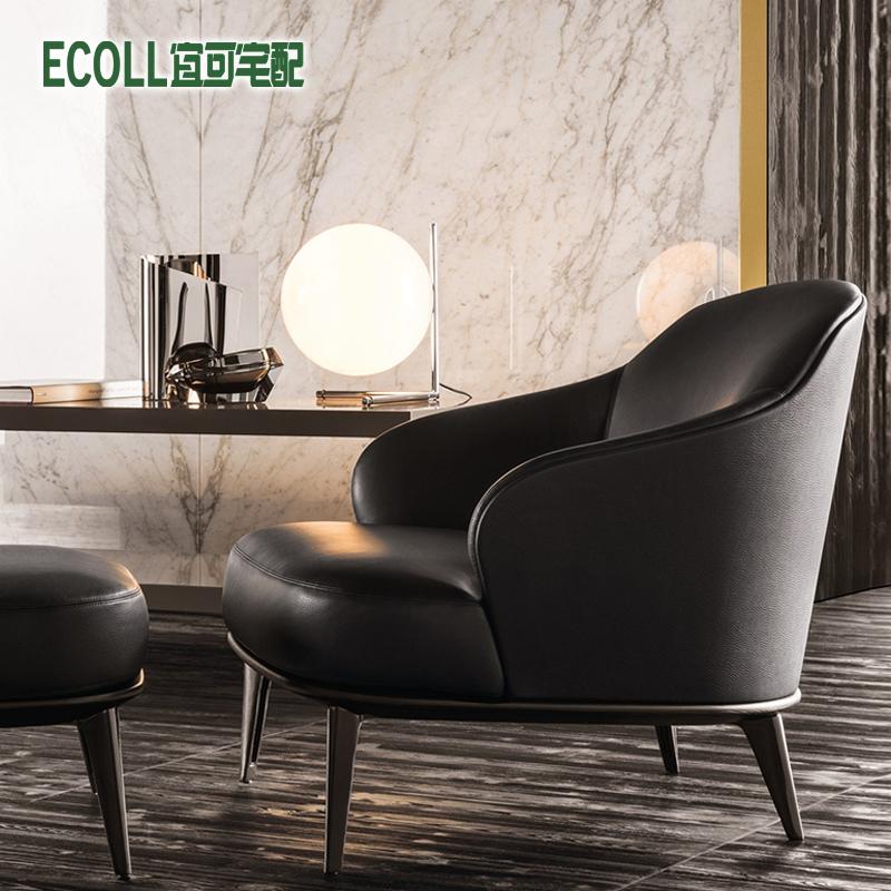 北欧单人沙发椅小户型现代简约休闲懒人实木沙发皮革皮艺小沙发