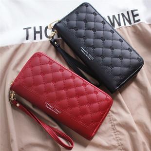 2020时尚新款小香风菱格钱包女长款学生韩版大容量手机包手拿包潮图片