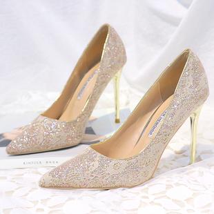 金粉色婚鞋蕾丝高跟鞋浅色尖头细跟单鞋女白色婚纱照新娘鞋宴会鞋图片