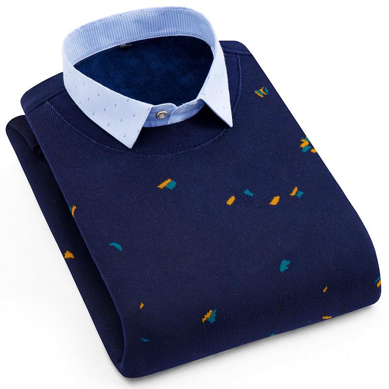 暖爱加绒加厚假两件保暖衬衫男衬衣领套头针织衫中青年商务男绒装