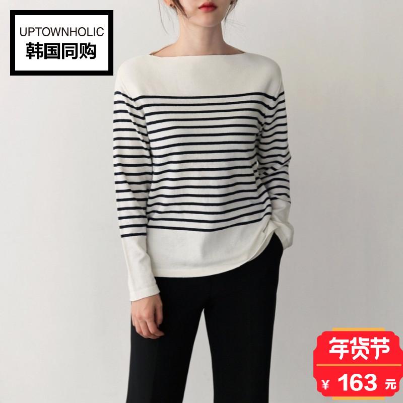 韩国正品Uptownholic2017冬季新款韩版通勤船领条纹针织衫