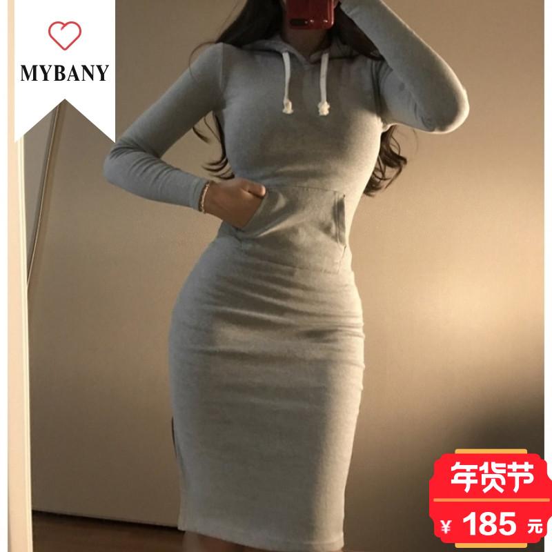 韩国MYBANY2017冬季韩版显瘦性感女装开衩摆袋鼠兜连帽连衣裙