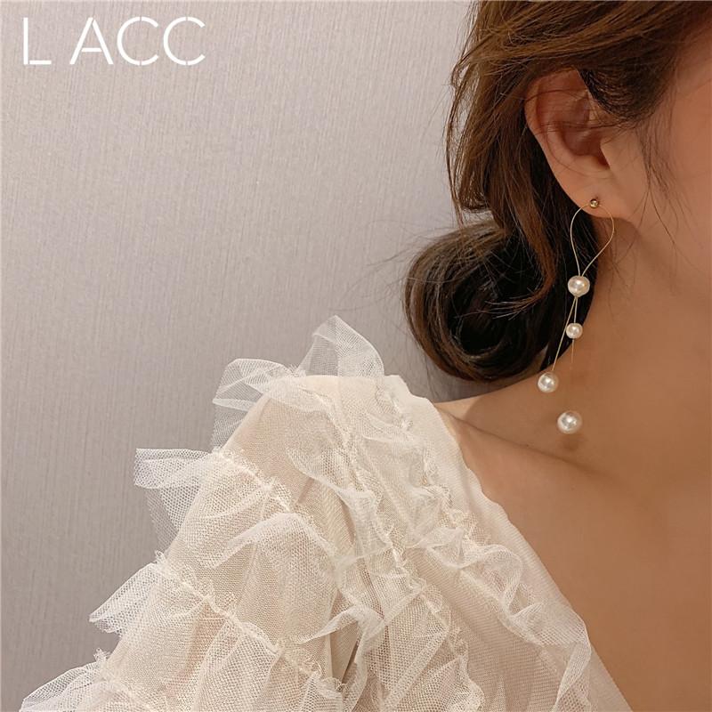 必入推荐!韩国设计师珍珠耳环长款流苏水钻ins超仙名媛耳钉女