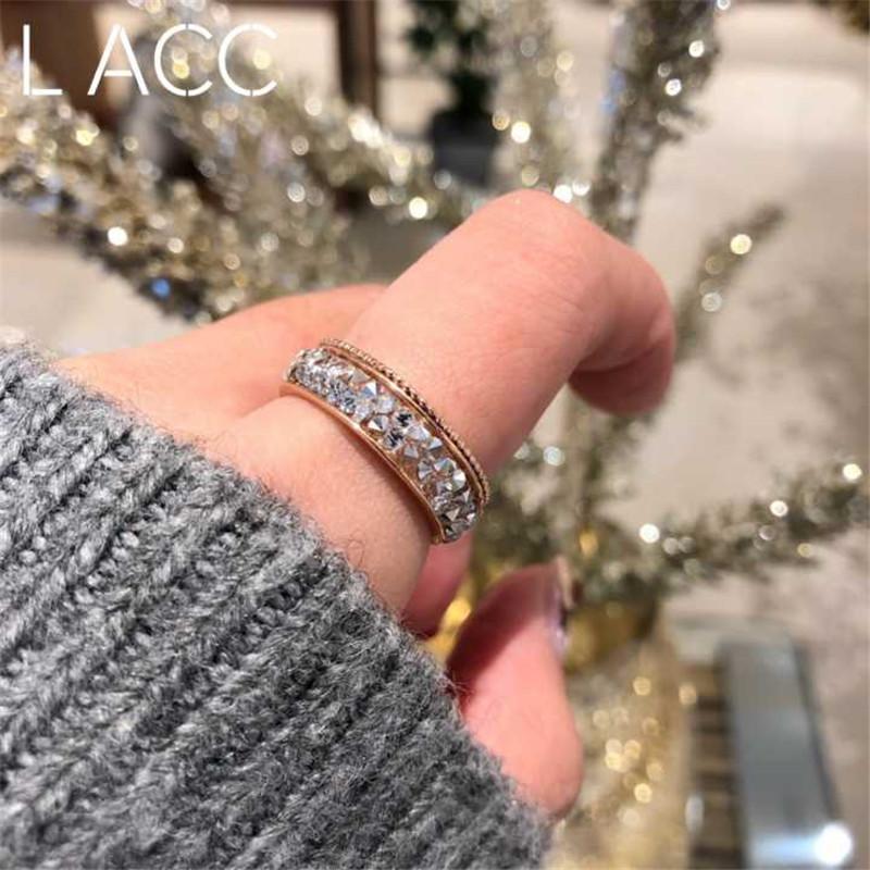 韩国东大门满钻戒指百搭时尚双层戒指简约2018新款可调节指环女