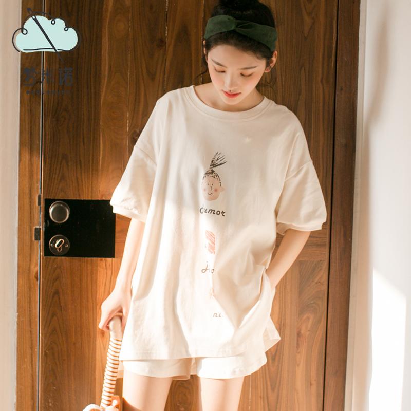 ins睡衣女夏季纯棉两件套可出门学