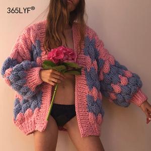 馬海毛撞色波浪紋毛衣粗棒針外套加厚保暖純手工編織燈籠袖開衫女