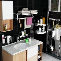 免打孔毛巾杆置物架壁挂不锈钢浴巾架挂杆卫浴用品卫生间厕所挂架