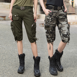 Freedom Knight Outdoor Army Fan Costume Sailor Dance Camo Pants Overalls Shorts Women Capri Camouflage Shorts Loose