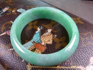 谷子家内径5.3cm-4.8cm 细糯米种 满绿翡翠贵妃镯 翠手镯 A1-575图片