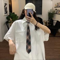学生衬衫女2020年夏季新款韩版原宿风纯色简约宽松休闲短袖上衣潮