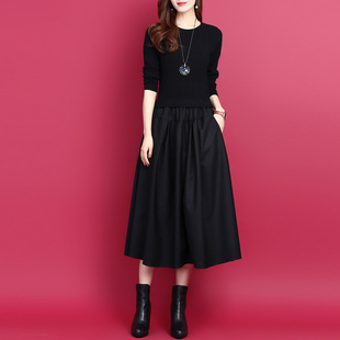 韩版拼接假两件中长款连衣裙2020秋冬纯色显瘦打底裙羊毛针织裙女