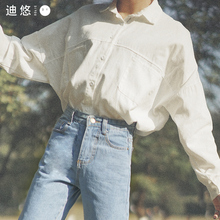 2021hi1款秋装白gf感(小)众长袖白色上衣学生宽松衬衣女春秋