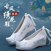 7厘米高跟汉服鞋女冬古装配鞋内增高坡跟绣花鞋古风翘头弓鞋明制