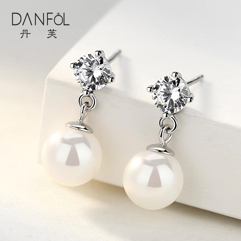 丹芙925纯银耳坠女短款气质百搭耳钉耳环吊坠珍珠母亲节礼物 首饰